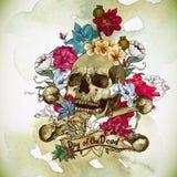 Schedel en Bloemen Vectorillustratie Stock Fotografie
