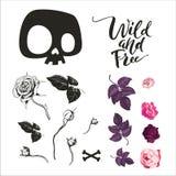 Schedel en bloemeninzameling De vectorillustratie van zwart-witte symbolen en pictogrammen, zoals schedel, nam bloemen toe vector illustratie