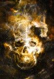 Schedel en fractal effect Kleuren ruimteachtergrond Royalty-vrije Stock Fotografie
