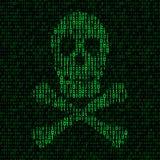 Schedel en gekruiste knekels met binaire code De varkensgriep van het virus h1n1 Stock Foto's