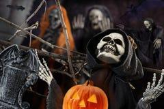 Schedel en skelet voor de donkere nacht van Halloween Royalty-vrije Stock Afbeelding