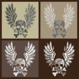 Schedel en vleugels in grungestijl royalty-vrije illustratie