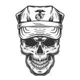 Schedel in GLB van militaire ambtenaar royalty-vrije illustratie