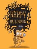 Schedel Halloween. orang-oetanachtergrond Royalty-vrije Stock Foto