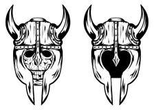 Schedel in helm met hoornen vector illustratie