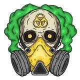 Schedel Schedel met gasmasker Schedel met ademhalingsapparaat stock illustratie