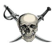 Schedel met gekruiste zwaarden, Piraatsymbool, de tekening van de Embleemhand vintag stock illustratie