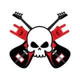Schedel met gitaren en het symbool van de rotshand Embleem voor popgroep Logboek Royalty-vrije Stock Afbeeldingen