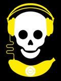 Schedel met hoofdtelefoons en de speler van de banaanmuziek Stock Foto's