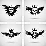 Schedel met kroon en vleugels Stock Afbeelding