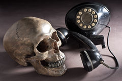 Schedel met oude telefoon Stock Fotografie