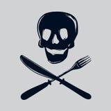 Schedel met vork en mes vector illustratie