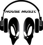 Schedel op het embleem van de huismuziek Stock Afbeelding