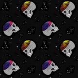 Schedel, ruimte, constellaties Naadloos patroon Ontwerp voor bureau, stof, kleding stock illustratie
