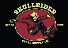 Schedel skateboarder kenteken royalty-vrije illustratie