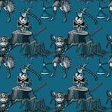 Schedel, strijdersmeisje en het naadloze patroon van de boomstomp royalty-vrije illustratie