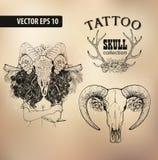 Schedel van de de schoolstudio van het tatoegeringsmeisje de oude vector illustratie