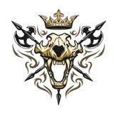 Schedel van een heraldisch embleem van de leeuwkroon Royalty-vrije Stock Foto's