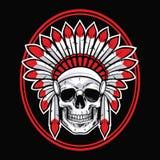 Schedel van Indische Inheemse Amerikaanse Strijdersvector met Rode Veer vector illustratie