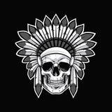 Schedel van Inheemse Indiaanstrijder Zwarte vector als achtergrond royalty-vrije illustratie