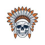 Schedel van Inheemse Indische Amerikaanse Strijder vector illustratie
