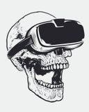 Schedel in VR-Glazen Stock Afbeeldingen