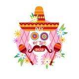 Schedeldag van Dood Concept Traditioneel Mexicaans Halloween Dia De Los Muertos Holiday Stock Illustratie