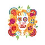 Schedeldag van Dood Concept Traditioneel Mexicaans Halloween Dia De Los Muertos Holiday Royalty-vrije Illustratie