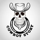 Schedelembleem, cowboyembleem Royalty-vrije Stock Afbeeldingen