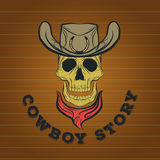 Schedelembleem, cowboyembleem Royalty-vrije Stock Fotografie