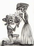 Schedelkunst in liefdedag van de doden Hand die op papier trekken Stock Foto