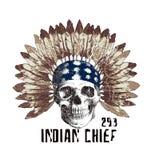schedelpatroon in etnische stijl, grafisch T-stukoverhemd stock illustratie