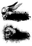 Schedels en emblemen stock illustratie