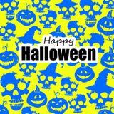 Schedels en pompoen Allen voor Halloween, Vrees en Schrik Achtergrond stock illustratie