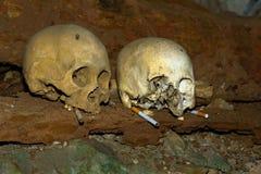 Schedels en sigaretten in TampangAllo-begrafenishol in Tana Toraja Stock Foto