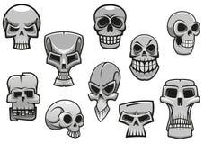 Schedels van beeldverhaal de menselijke enge Halloween Stock Afbeelding