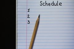 The schedule of Activities, Concept planning stock images