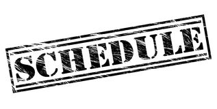 Schedule black stamp. Isolated on white background Royalty Free Stock Photos