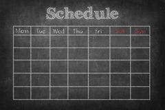 Schedule on. Blackboard 7 days royalty free stock photos