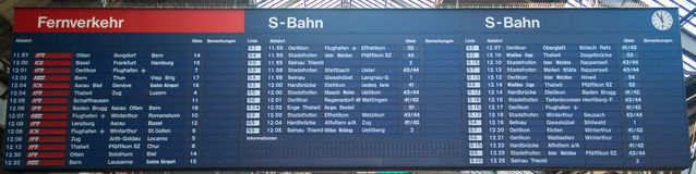 A schedule board in a train station with information Stock Images