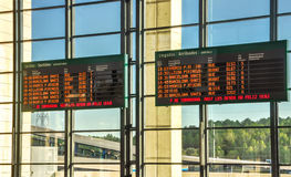 Schedule boards at railway station. Royalty Free Stock Photography