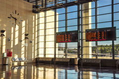 Schedule boards at railway station hall. Camp de Tarragona, Spain. Horizontal Royalty Free Stock Image