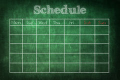 Schedule on chalkboard Stock Photos