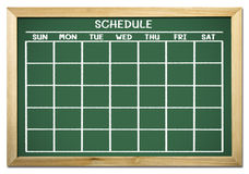 Schedule on chalkboard Stock Photo