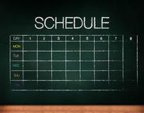 Schedule on chalkboard Royalty Free Stock Images