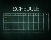 Schedule on chalkboard Stock Photo