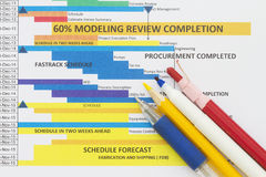 Schedule chart. Abstract with bar graph and colored pens Stock Photography