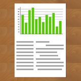 Schedule chart on table vector. Economic visualization information, business report graph illustration Stock Images