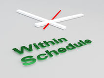 Within Schedule concept. 3D illustration of Within Schedule title with a clock as a background Royalty Free Stock Photo
