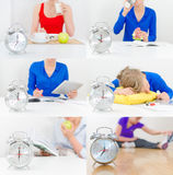 Schedule of the day collage. Breakfast dinner lunch work sport stock images